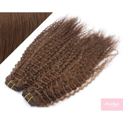 """20"""" (50cm) Deluxe curly clip in human REMY hair - medium brown"""