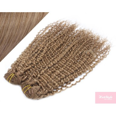 """20"""" (50cm) Deluxe curly clip in human REMY hair - light brown"""