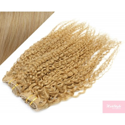 """20"""" (50cm) Deluxe curly clip in human REMY hair - natural blonde"""