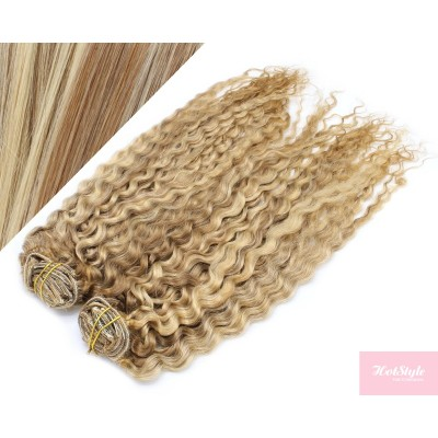 "20"" (50cm) Deluxe curly clip in human REMY hair - mixed blonde"
