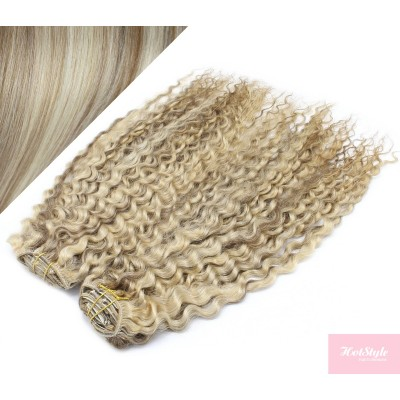 """20"""" (50cm) Deluxe curly clip in human REMY hair - platinum/light brown"""