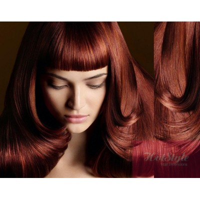 clip in bang fringe human hair remy copper red