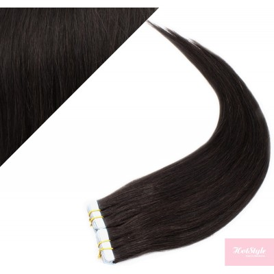 """16"""" (40cm) Tape Hair / Tape IN human REMY hair - natural black"""