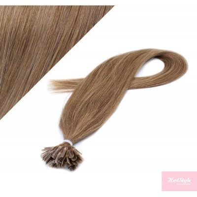 "16"" (40cm) Nail tip / U tip human hair pre bonded extensions - light brown"