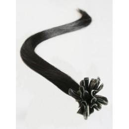 "20"" (50cm) Nail tip / U tip human hair pre bonded extensions – natural black"