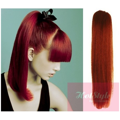 Clip in ponytail wrap braid hair extension 24 straight copper red pmusecretfo Images