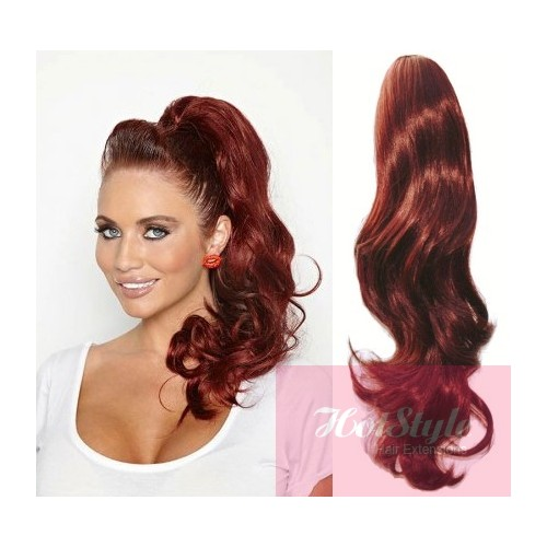 Clip In Ponytail Wrap Braid Hair Extension 24 Wavy Copper Red