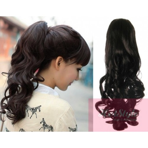Clip in ponytail wrap braid hair extension 24 curly natural black pmusecretfo Choice Image