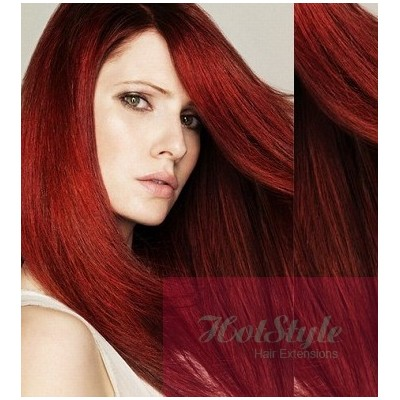 "15"" (40cm) Clip in human REMY hair - copper red"
