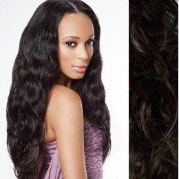 "20"" (50cm) Clip in wavy human REMY hair - natural black"
