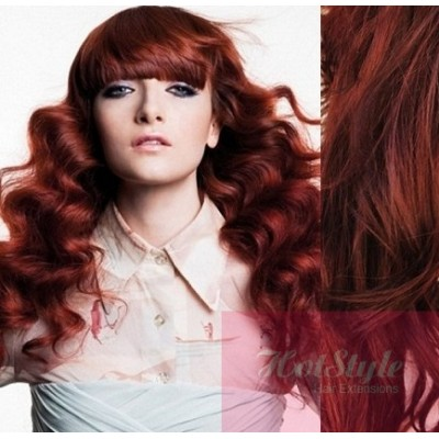 clip in wavy human hair remy copper red 20 50cm