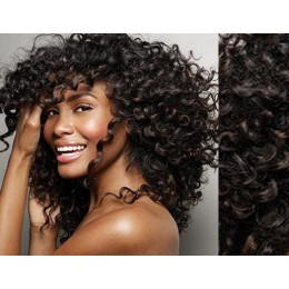 """20"""" (50cm) Clip in curly human REMY hair - natural black"""