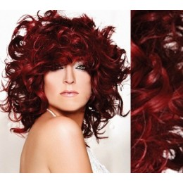 """20"""" (50cm) Clip in curly human REMY hair - copper red"""
