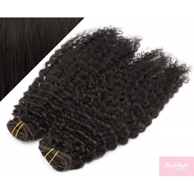 """20"""" (50cm) Deluxe curly clip in human REMY hair - natural black"""