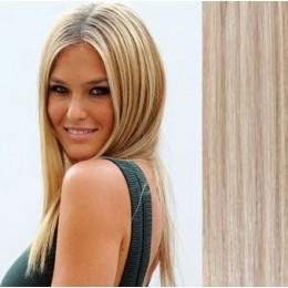 "15"" (40cm) Clip in human REMY hair - platinum/light brown"