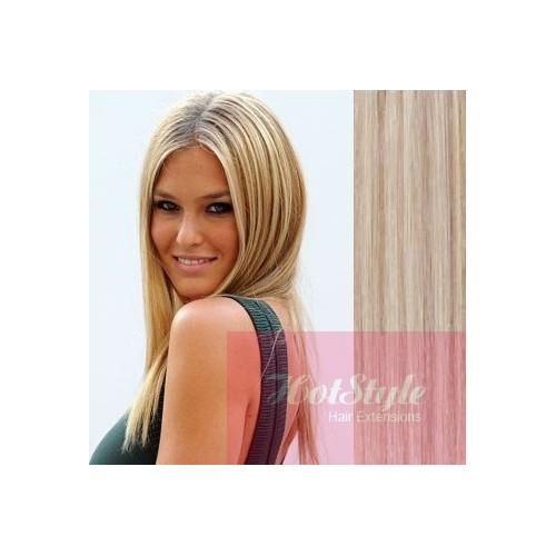 clip in human hair remy platinum light brown 15 40cm. Black Bedroom Furniture Sets. Home Design Ideas