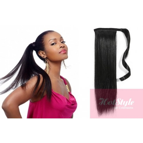 Clip In Human Hair Ponytail Wrap Hair Extension 20 Straight Black