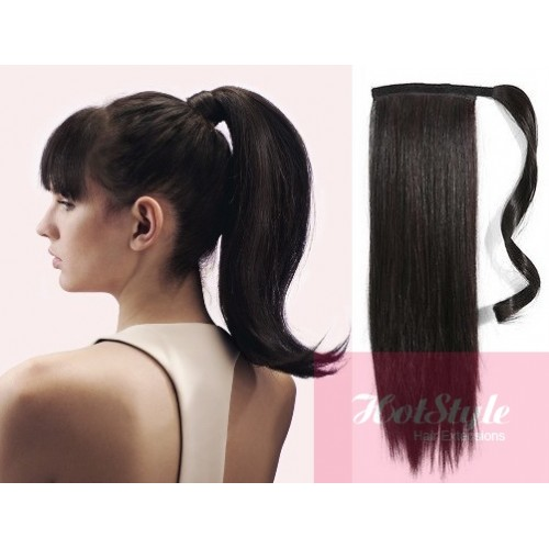 Clip In Human Hair Ponytail Wrap Hair Extension 20 Straight Natural Black