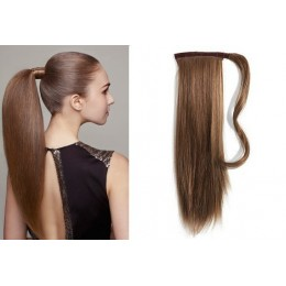 "Clip in human hair ponytail wrap hair extension 20"" straight - medium brown"