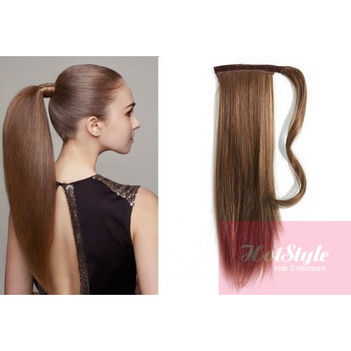 Clip in human hair ponytail wrap hair extension 20 straight clip in human hair ponytail wrap hair extension 20 straight medium brown pmusecretfo Images