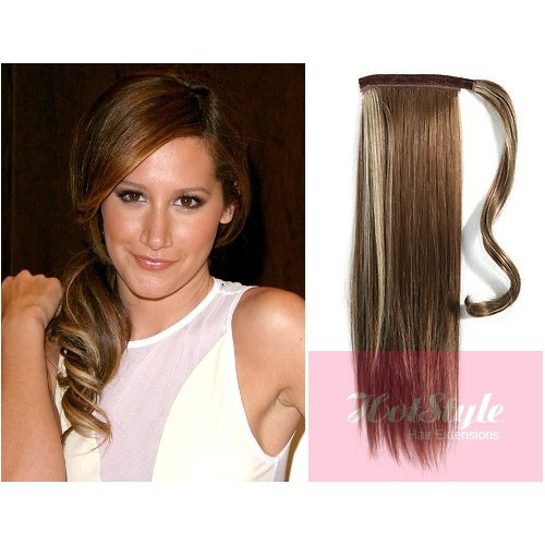 Clip In Human Hair Ponytail Wrap Hair Extension 20 Straight Dark