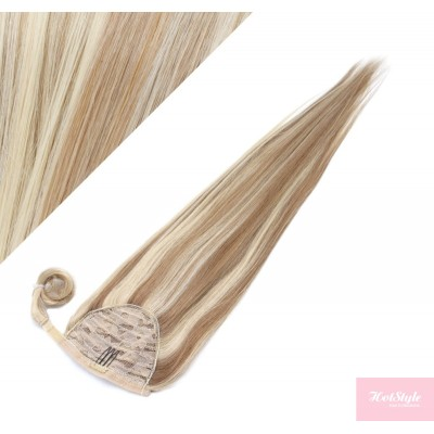"""Clip in human hair ponytail wrap hair extension 20"""" straight - mixed blonde"""