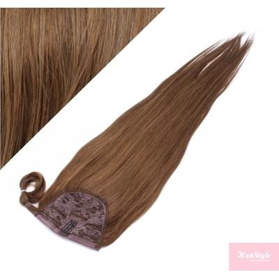 "Clip in human hair ponytail wrap hair extension 24"" straight - medium brown"