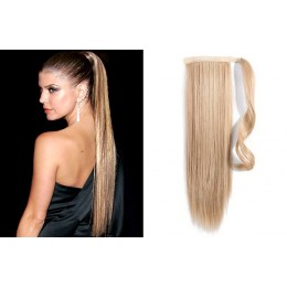 "Clip in human hair ponytail wrap hair extension 24"" straight - natural blonde"
