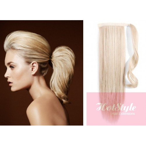 Clip in human hair ponytail wrap hair extension 24 straight clip in human hair ponytail wrap hair extension 24 straight platinum blonde pmusecretfo Image collections