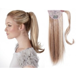 """Clip in human hair ponytail wrap hair extension 24"""" straight - platinum/light brown"""