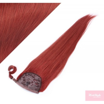"""Clip in human hair ponytail wrap hair extension 20"""" straight - copper red"""