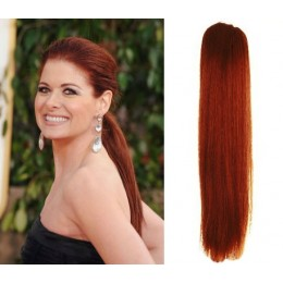 "Clip in human hair ponytail wrap hair extension 20"" straight - copper red"