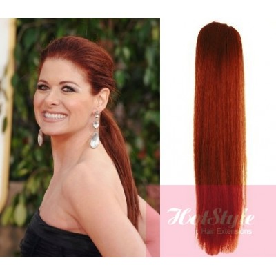 Clip in human hair ponytail wrap hair extension 20 straight clip in human hair ponytail wrap hair extension 20 straight copper red pmusecretfo Images