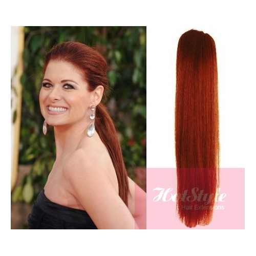 Clip In Human Hair Ponytail Wrap Hair Extension 24 Straight