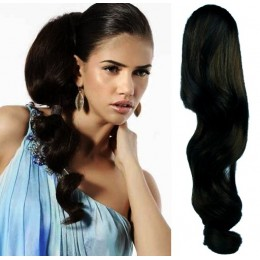 "Clip in human hair ponytail wrap hair extension 20"" wavy - black"
