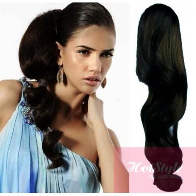 Clip In Human Hair Ponytail Wrap Hair Extension 20 Wavy Black