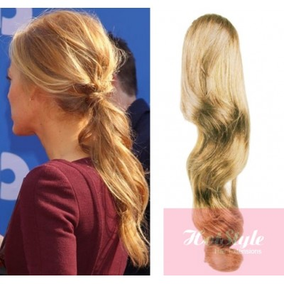 clip in human hair ponytail wrap hair extension 20 wavy