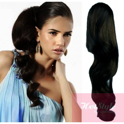 Clip in human hair ponytail wrap hair extension 24 wavy black pmusecretfo Image collections