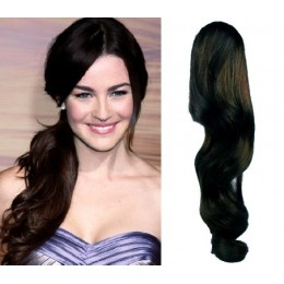 "Clip in human hair ponytail wrap hair extension 24"" wavy - natural black"