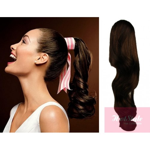 Clip in human hair ponytail wrap hair extension 24 wavy dark brown pmusecretfo Image collections