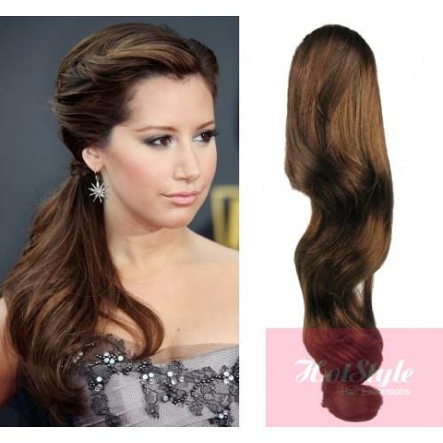 Clip In Human Hair Ponytail Wrap Hair Extension 24 Wavy Medium Brown