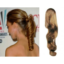 """Clip in human hair ponytail wrap hair extension 24"""" wavy - light brown"""