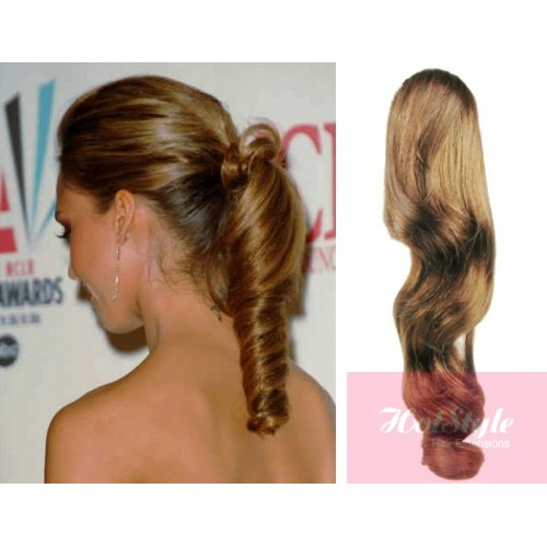 Clip In Human Hair Ponytail Wrap Hair Extension 24 Wavy Light Brown