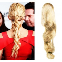 """Clip in human hair ponytail wrap hair extension 24"""" wavy - the lightest blonde"""