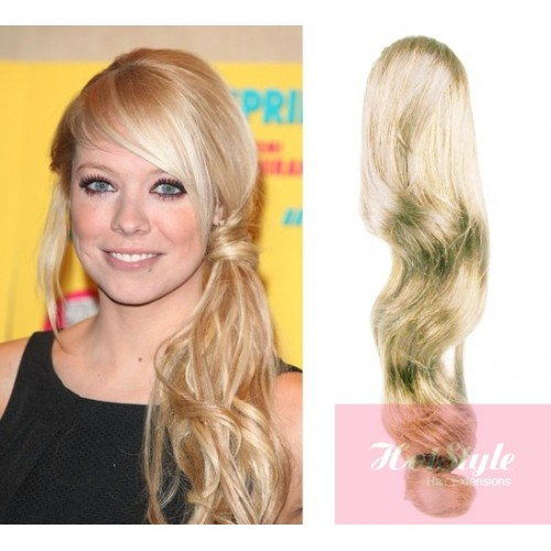 Wavy Blonde Human Hair Extensions 53