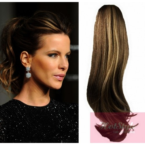 Clip In Human Hair Ponytail Wrap Hair Extension 24 Wavy Dark
