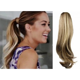 "Clip in human hair ponytail wrap hair extension 24"" wavy - mixed blonde"