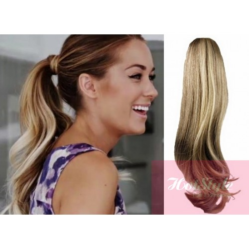 Clip In Human Hair Ponytail Wrap Hair Extension 24 Wavy Mixed Blonde