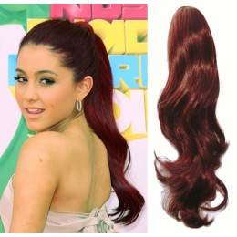 """Clip in human hair ponytail wrap hair extension 24"""" wavy - copper red"""