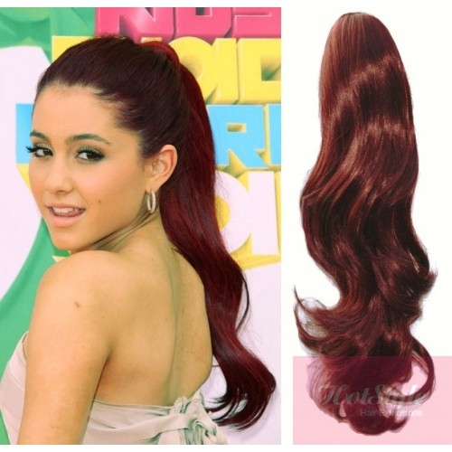 Clip in human hair ponytail wrap hair extension 24 wavy copper red pmusecretfo Image collections